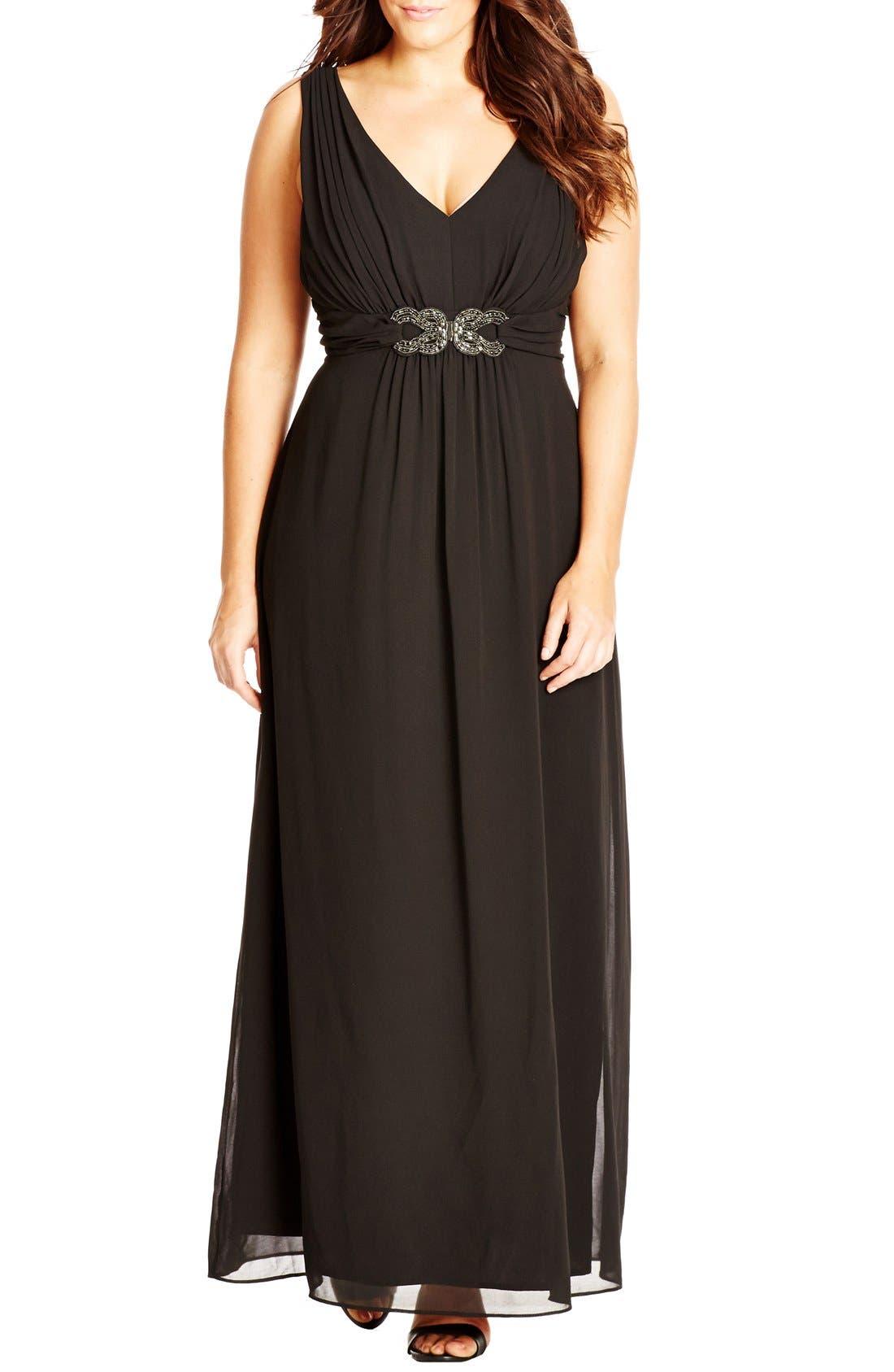 'Elegant Sparkle' Embellished Maxi Dress,                         Main,                         color, Black