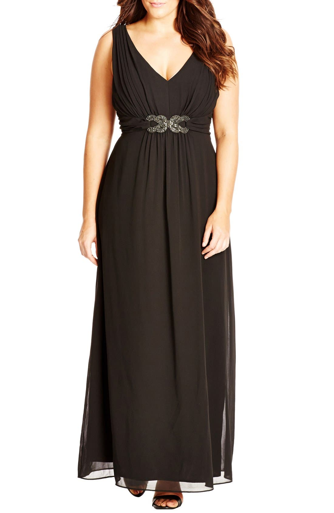 City Chic 'Elegant Sparkle' Embellished Maxi Dress (Plus Size)
