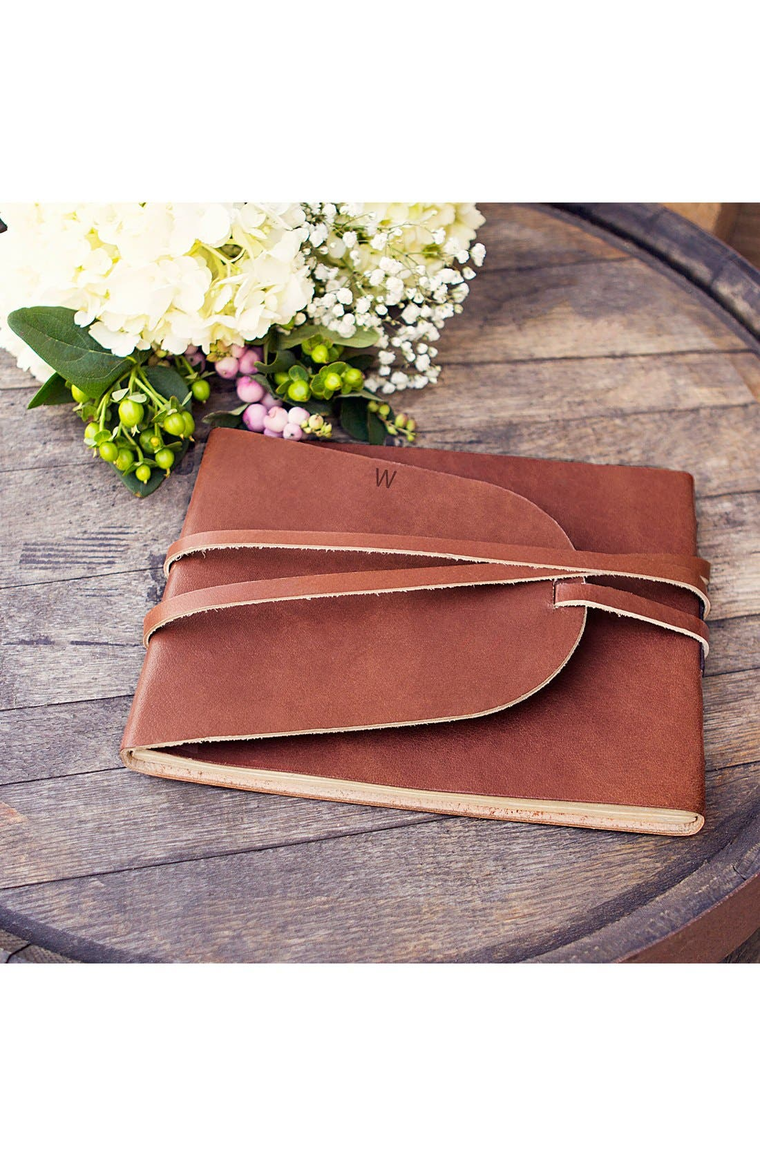 Monogram Leather Guest Book,                         Main,                         color, W- Brown