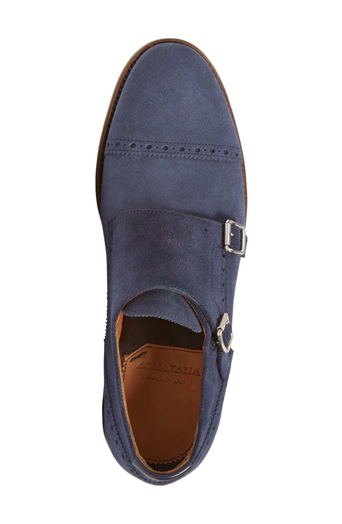 'Fallon' Weatherproof Monk Strap Shoe,                             Alternate thumbnail 3, color,                             Navy Suede