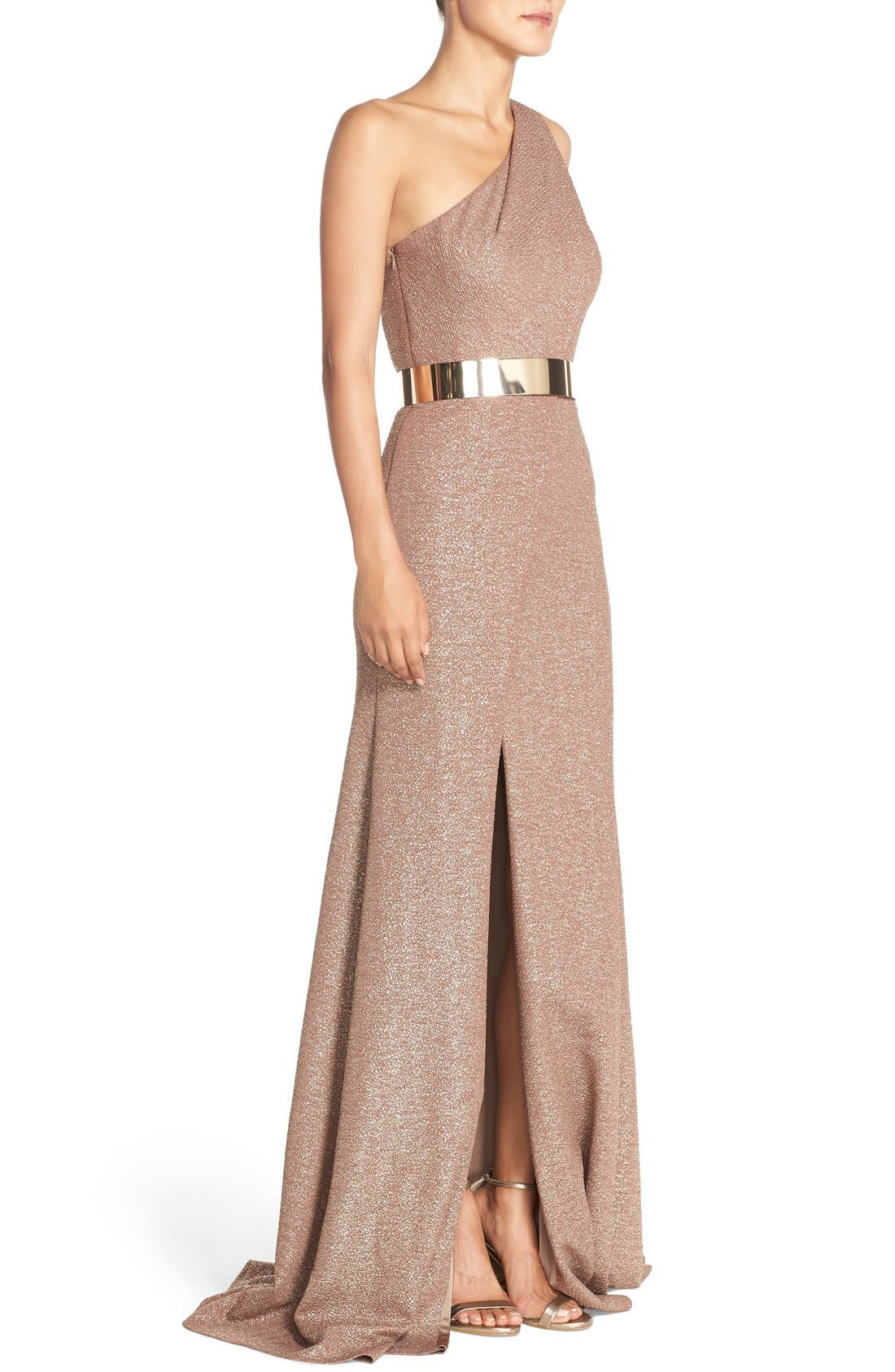 Alternate Image 3  - David Meister Belted Metallic Knit Gown