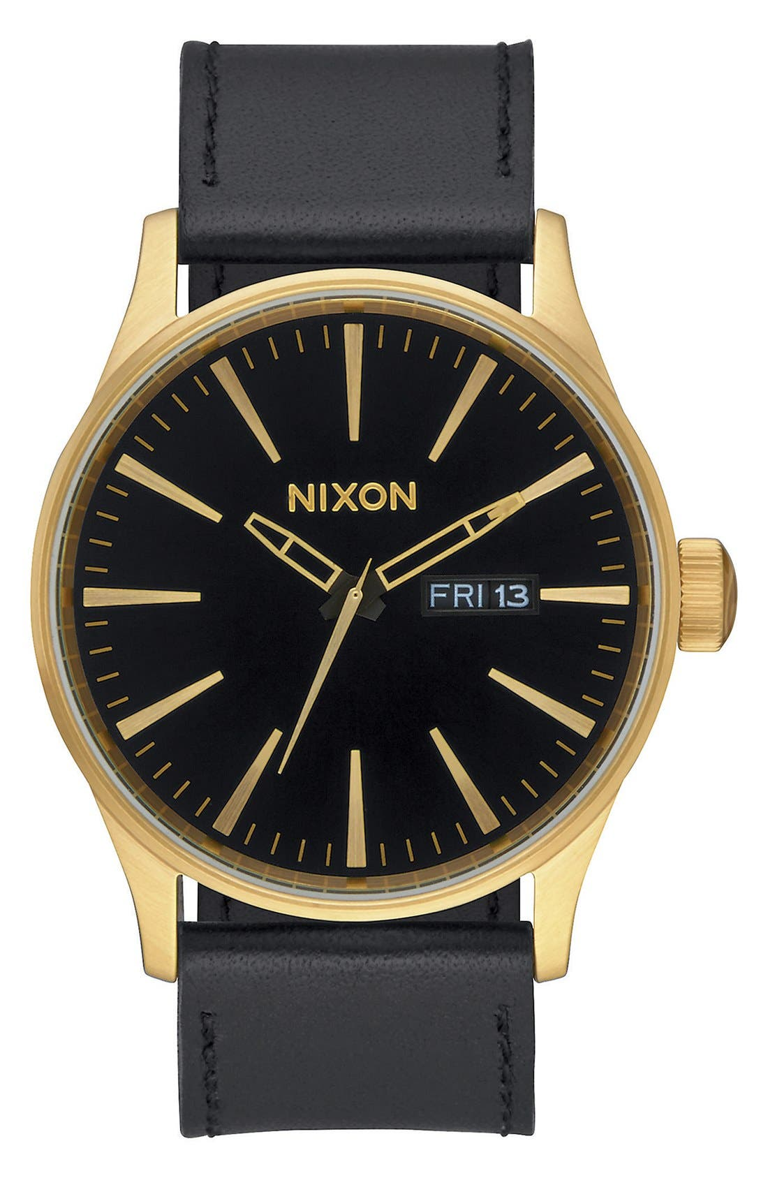 The Sentry Leather Strap Watch, 42mm,                         Main,                         color, Black/ Black/ Gold