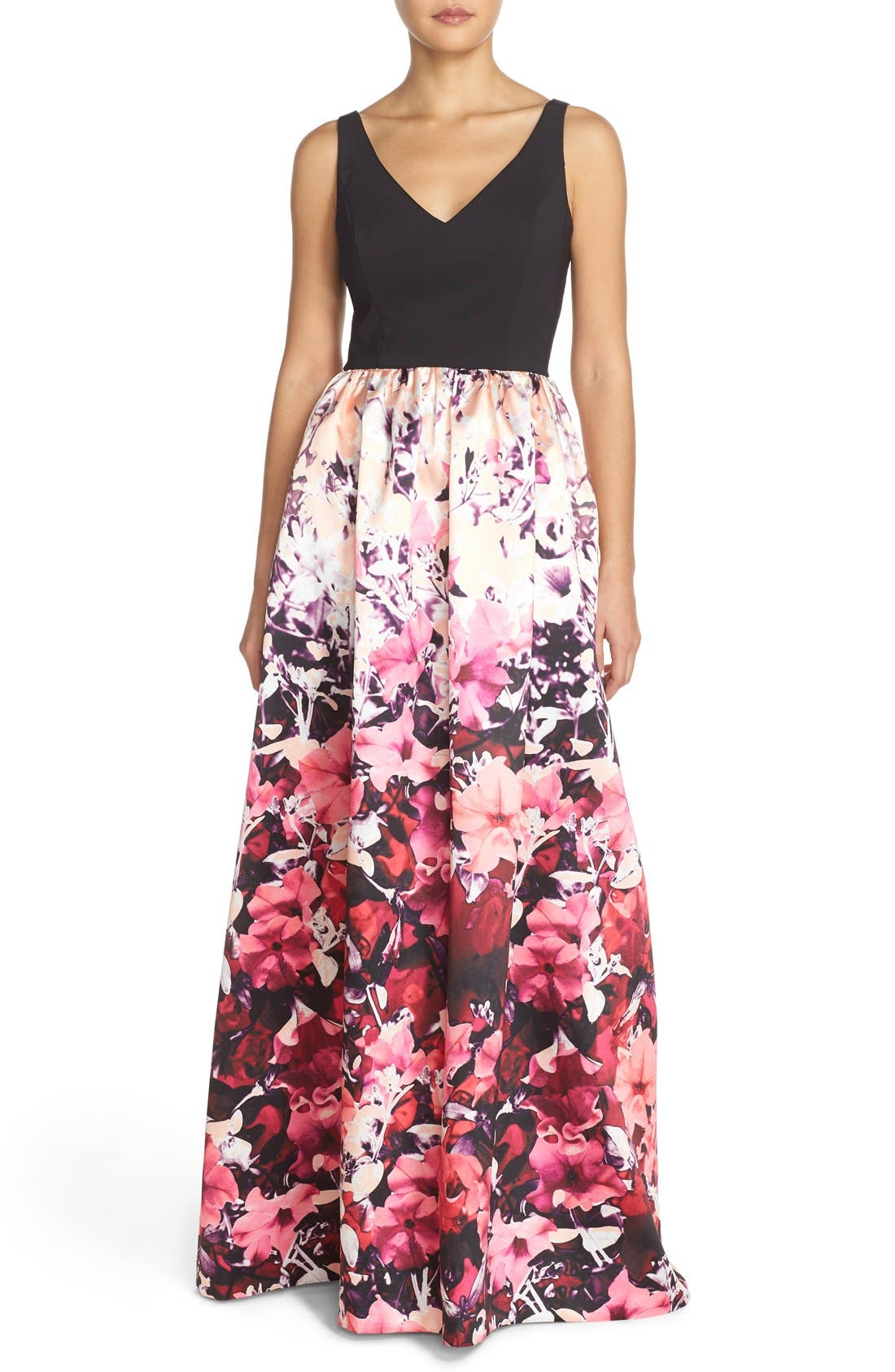 Alternate Image 1 Selected - Adrianna Papell Floral Mikado Ballgown