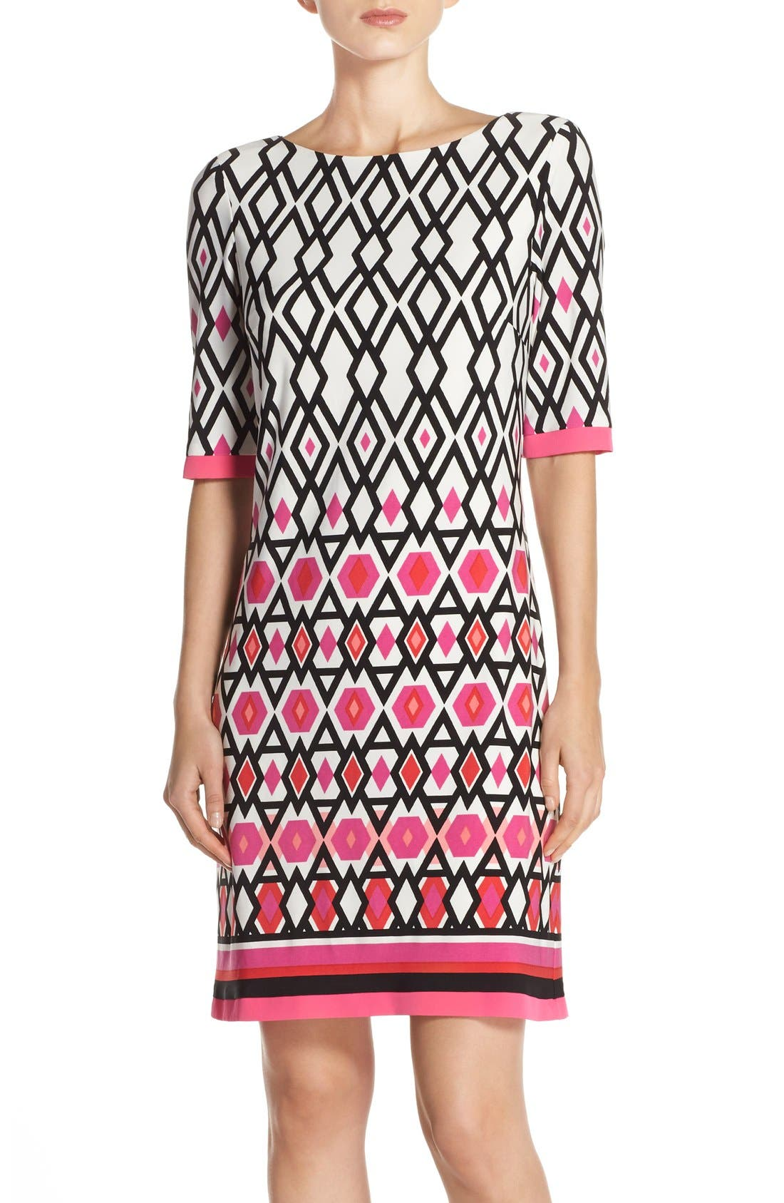 Print Jersey Sheath Dress,                             Main thumbnail 1, color,                             Pink Print