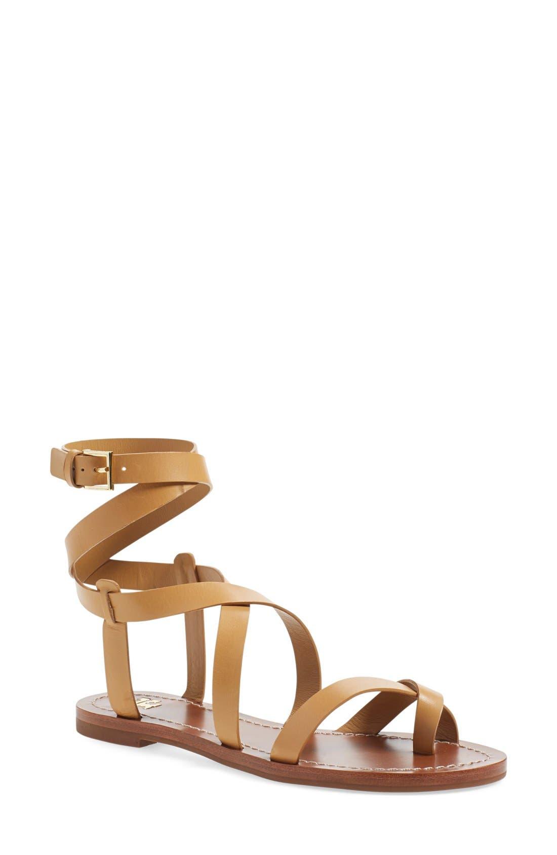 'Patos' Gladiator Sandal,                         Main,                         color, Blond Manark Vachetta