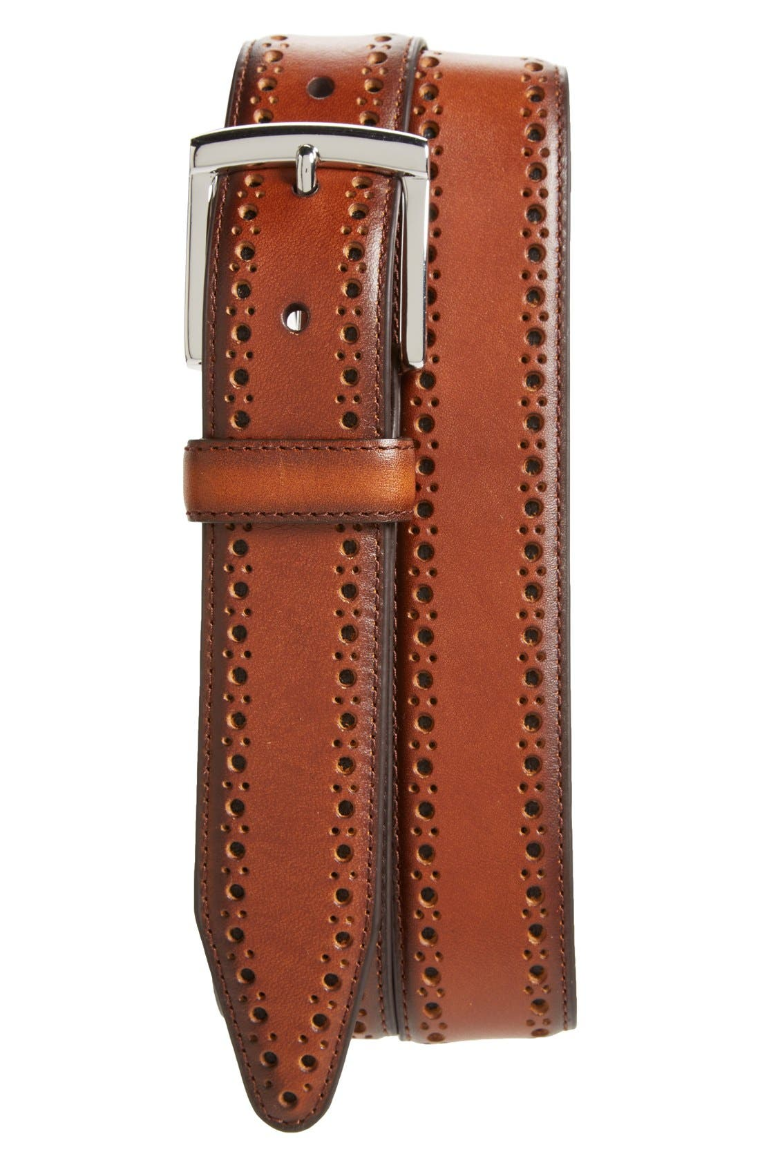 Perforated Leather Belt,                         Main,                         color, Tan