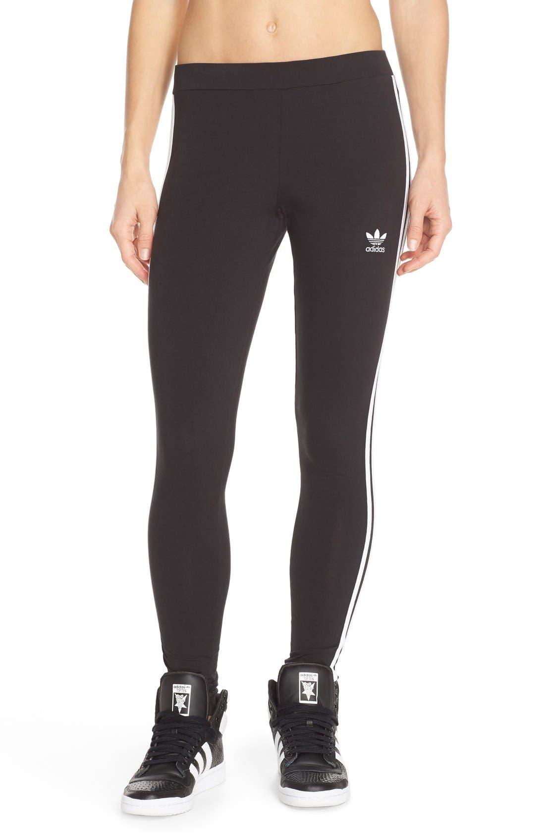 Originals Logo Leggings,                         Main,                         color, Black/ White