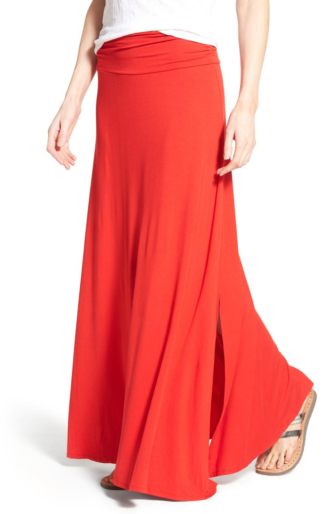 Alternate Image 4  - Bobeau Ruched Waist Side Slit Maxi Skirt (Regular & Petite)
