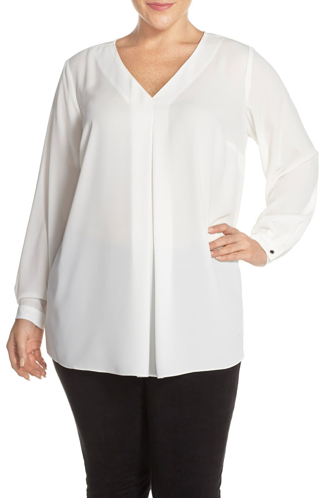 Alternate Image 1 Selected - Vince Camuto Pleat Front V-Neck Blouse (Plus Size)