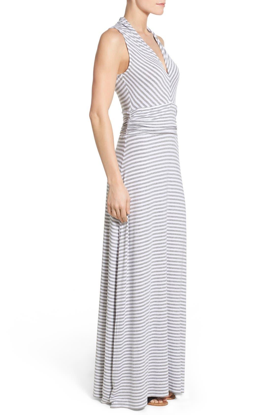Stripe Jersey Cutaway Shoulder Maxi Dress,                             Alternate thumbnail 3, color,                             Light Heather Grey