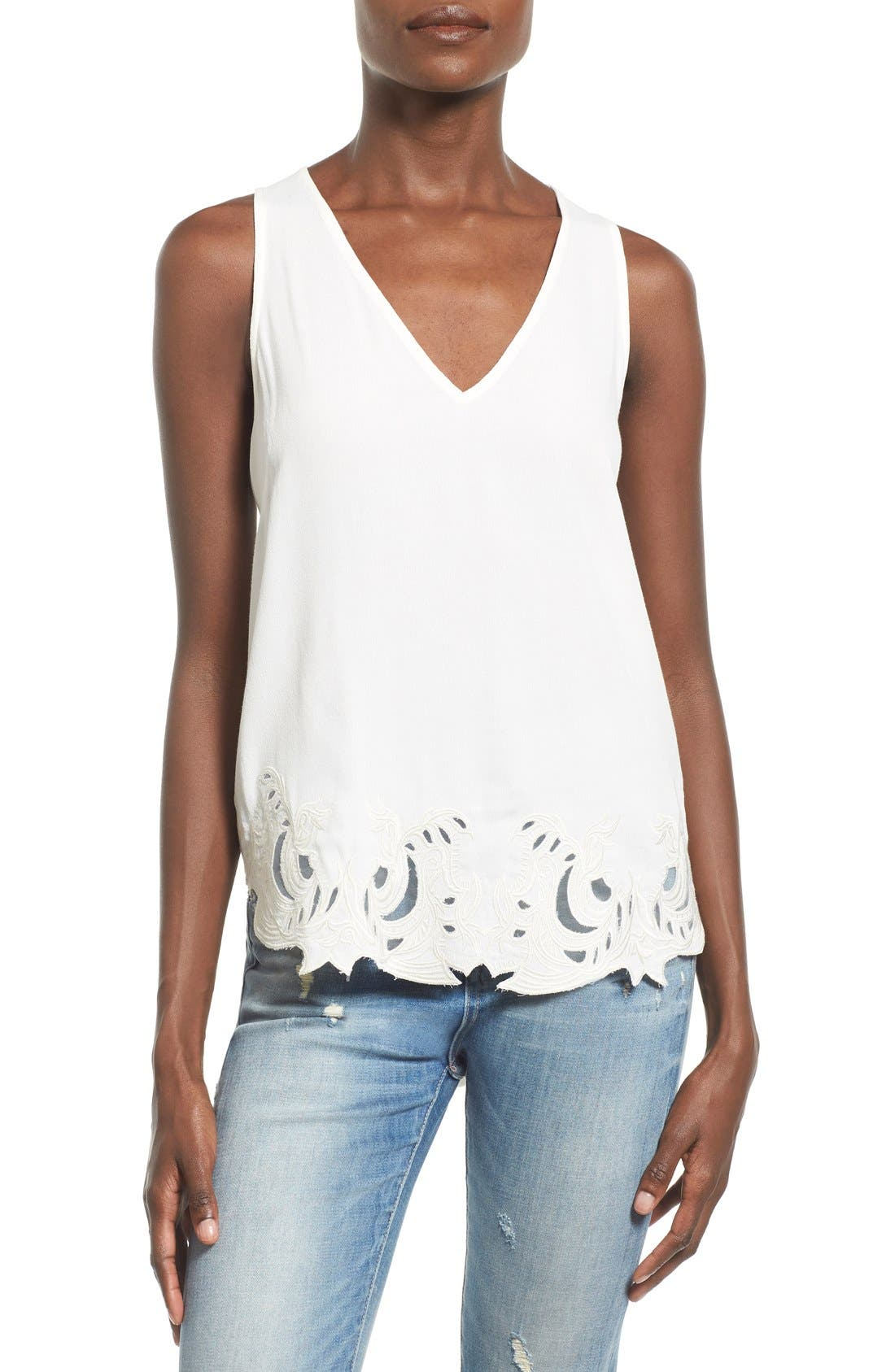 Main Image - ASTR 'Heart of Gold' Embroidered Hem Tank