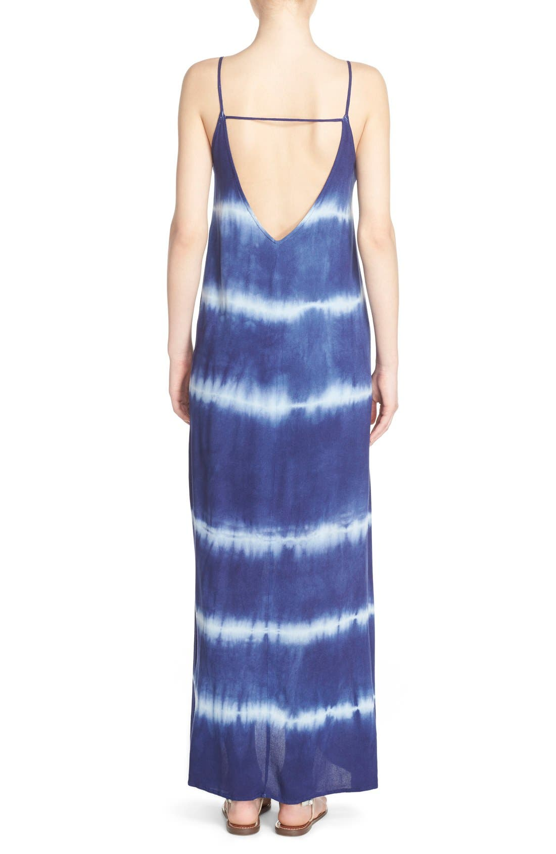 Alternate Image 2  - Fraiche by J Border Print Crepe A-Line Maxi Dress