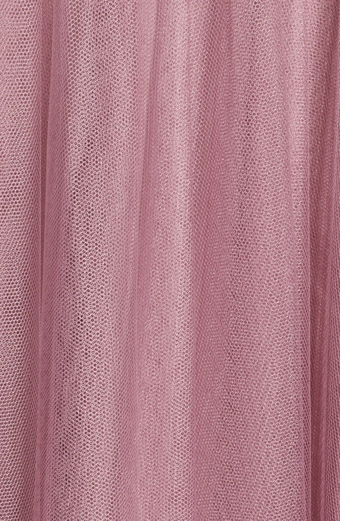 Pleat Tulle V-Neck High/Low Gown,                             Alternate thumbnail 6, color,                             Cerise