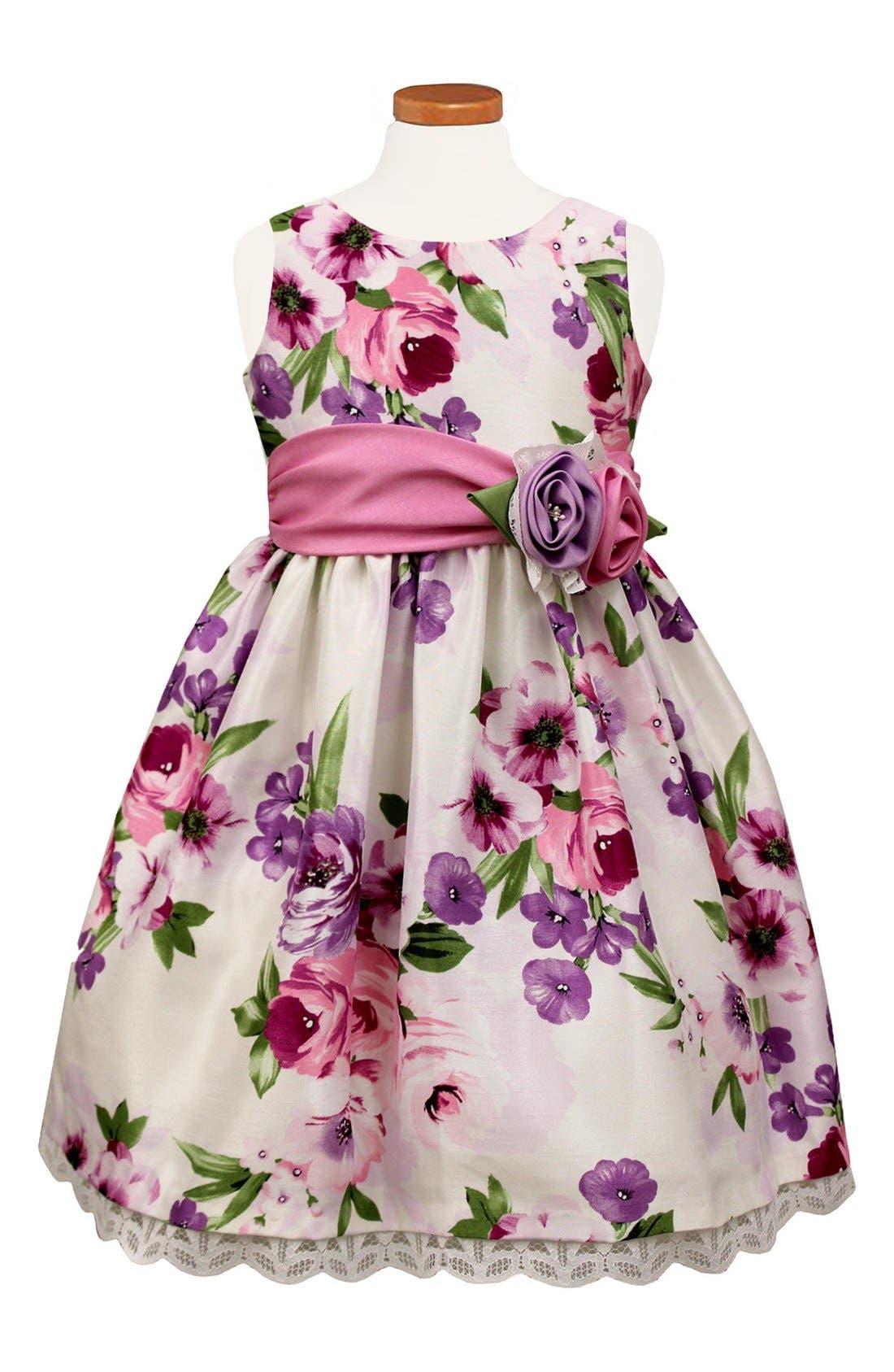 Floral Print Crochet Hem Dress,                         Main,                         color, Orchid