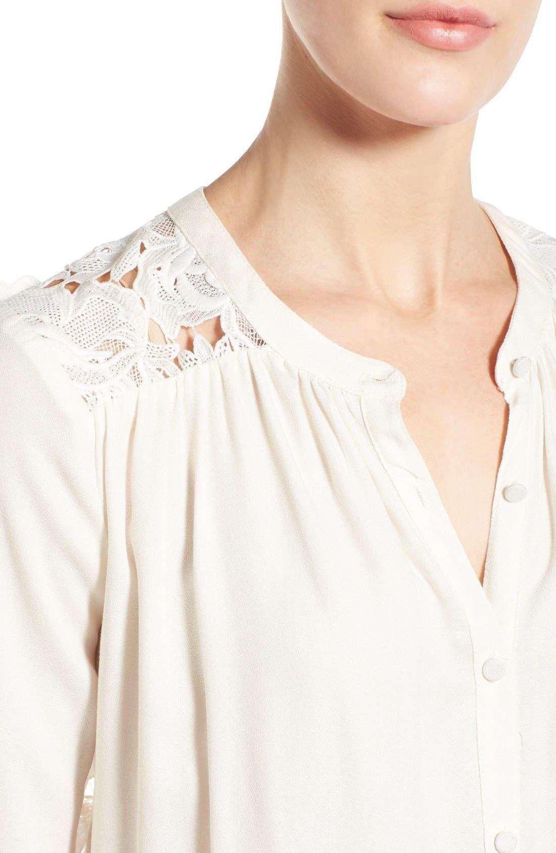 Alternate Image 4  - Ella Moss 'Cresent' Lace Contrast Blouse