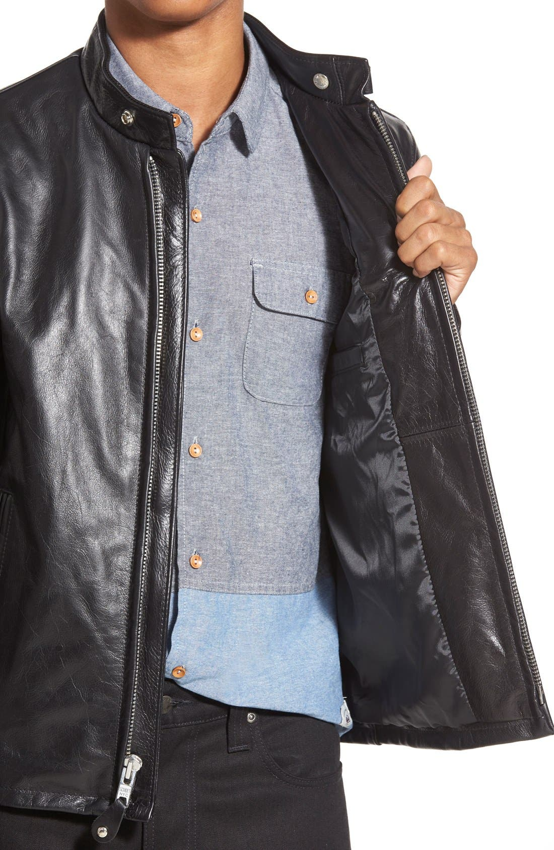 Alternate Image 3  - Schott NYC 'Casual Café Racer' Slim Fit Leather Jacket