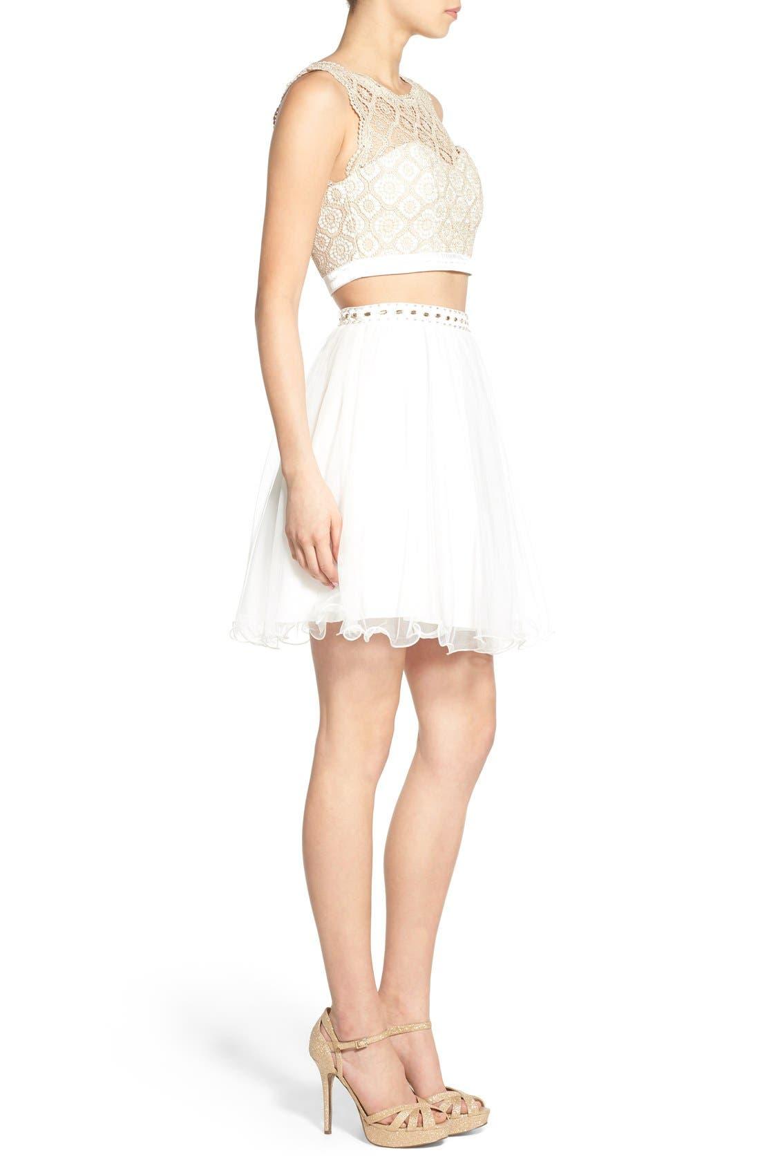 Alternate Image 3  - Sequin Hearts Crochet Lace Two-Piece Dress