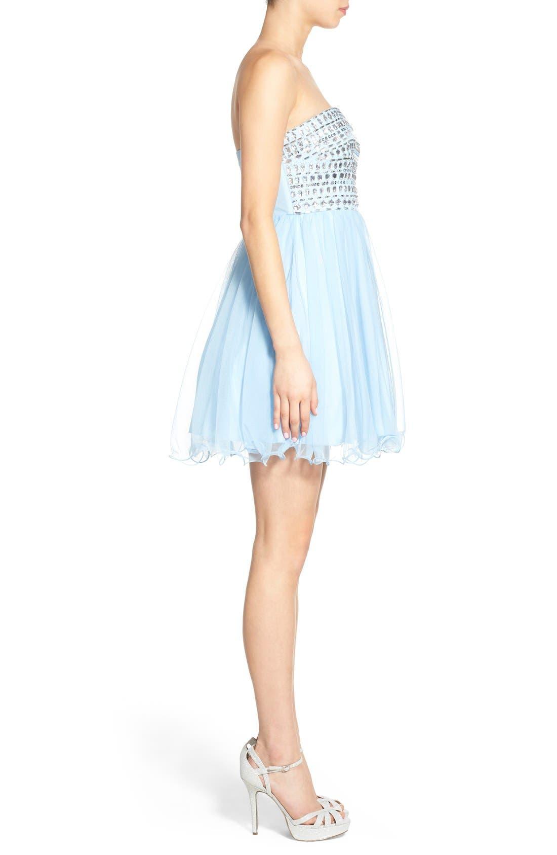 Alternate Image 3  - Sequin Hearts Rhinestone Bodice Strapless Dress