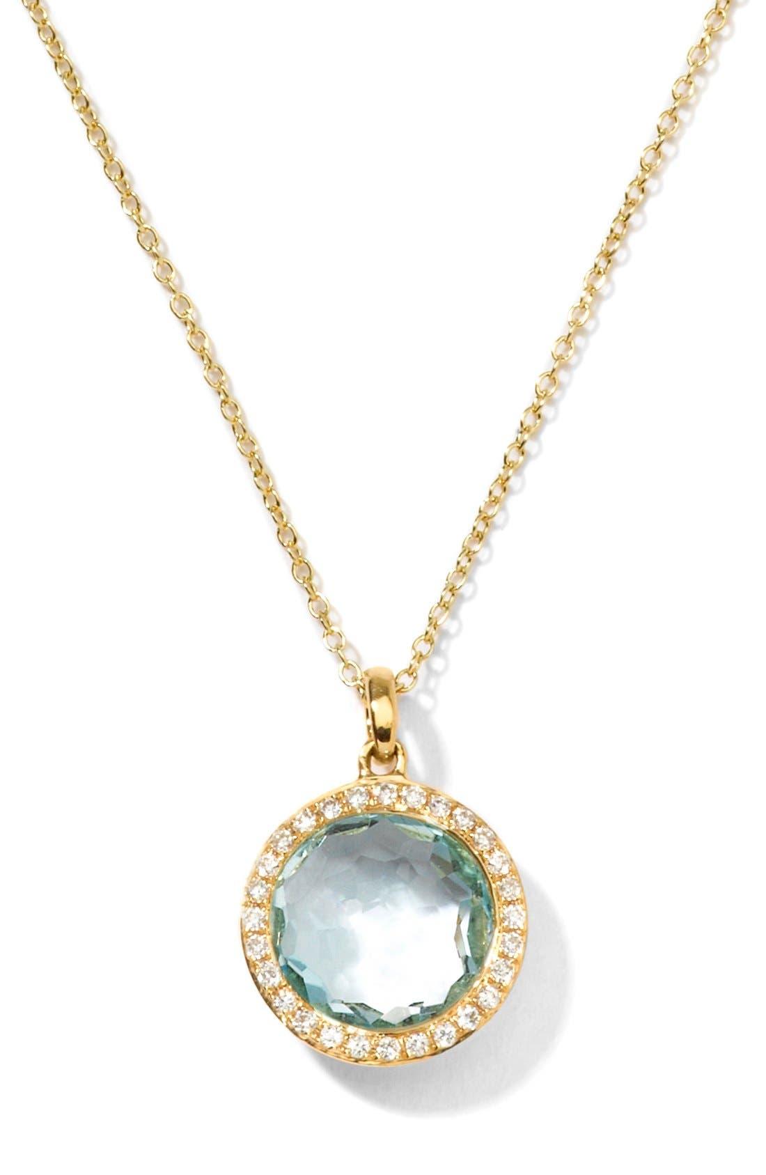 'Rock Candy - Mini Lollipop' Pendant Necklace,                         Main,                         color, Yellow Gold/ Blue Topaz