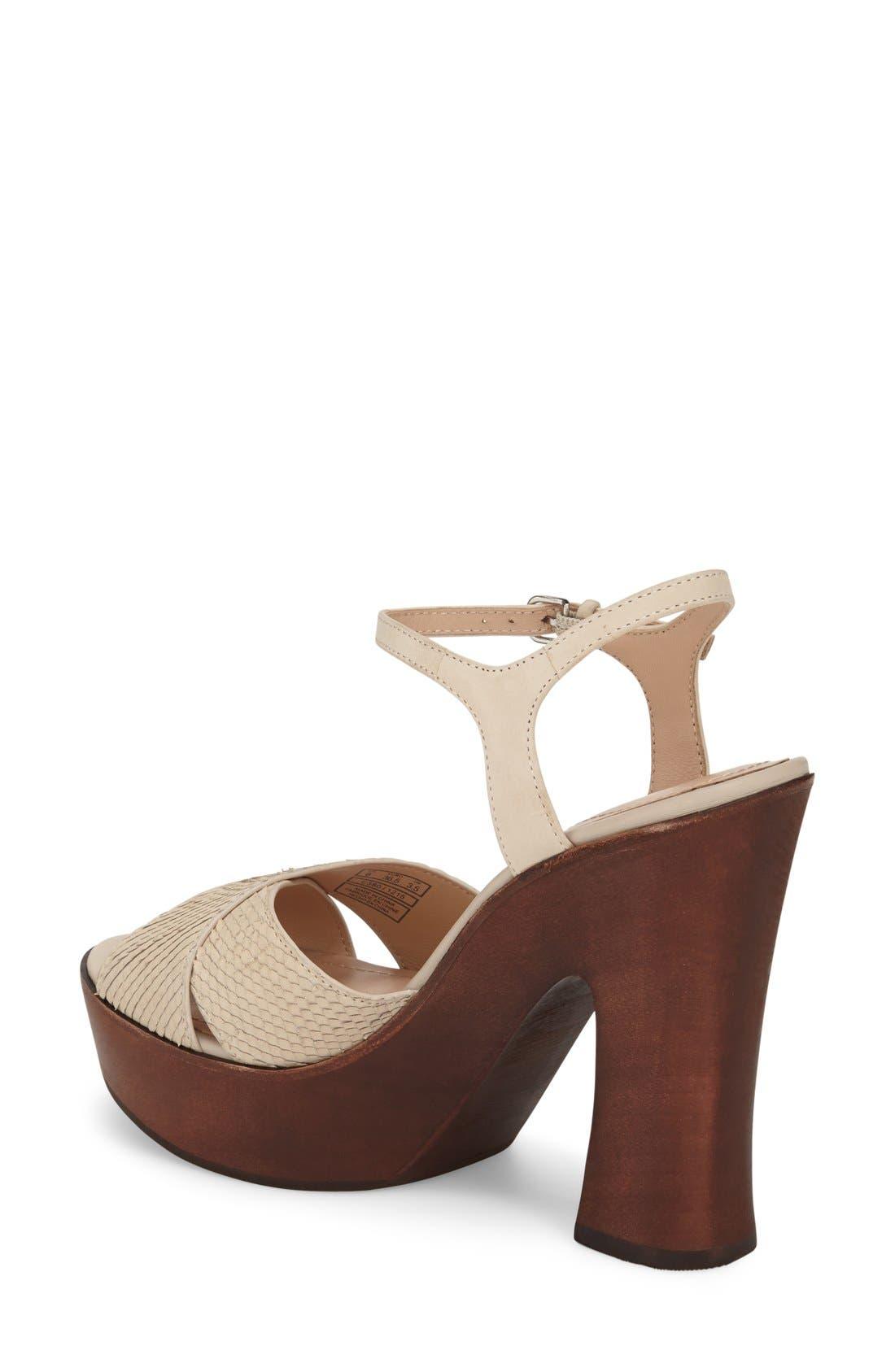 'Dakota' Platform Sandal,                             Alternate thumbnail 2, color,                             Bone Leather