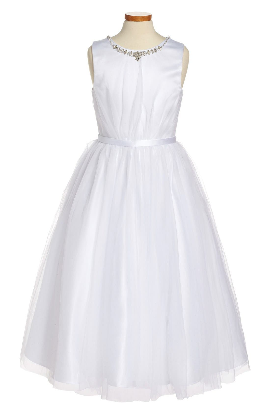Beaded Satin & Tulle First Communion Dress,                             Main thumbnail 1, color,                             White