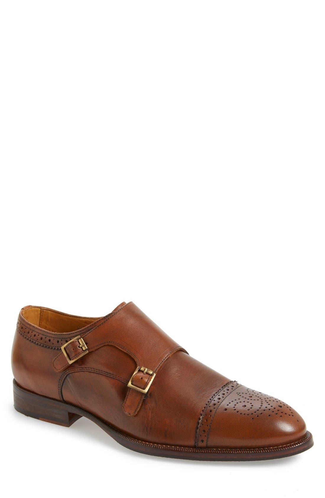 'Briant' Double Monk Strap Shoe,                             Main thumbnail 1, color,                             Cognac Leather