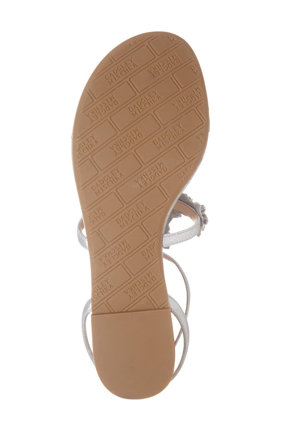 'Cara' Crystal Embellished Flat Sandal,                             Alternate thumbnail 4, color,                             Silver