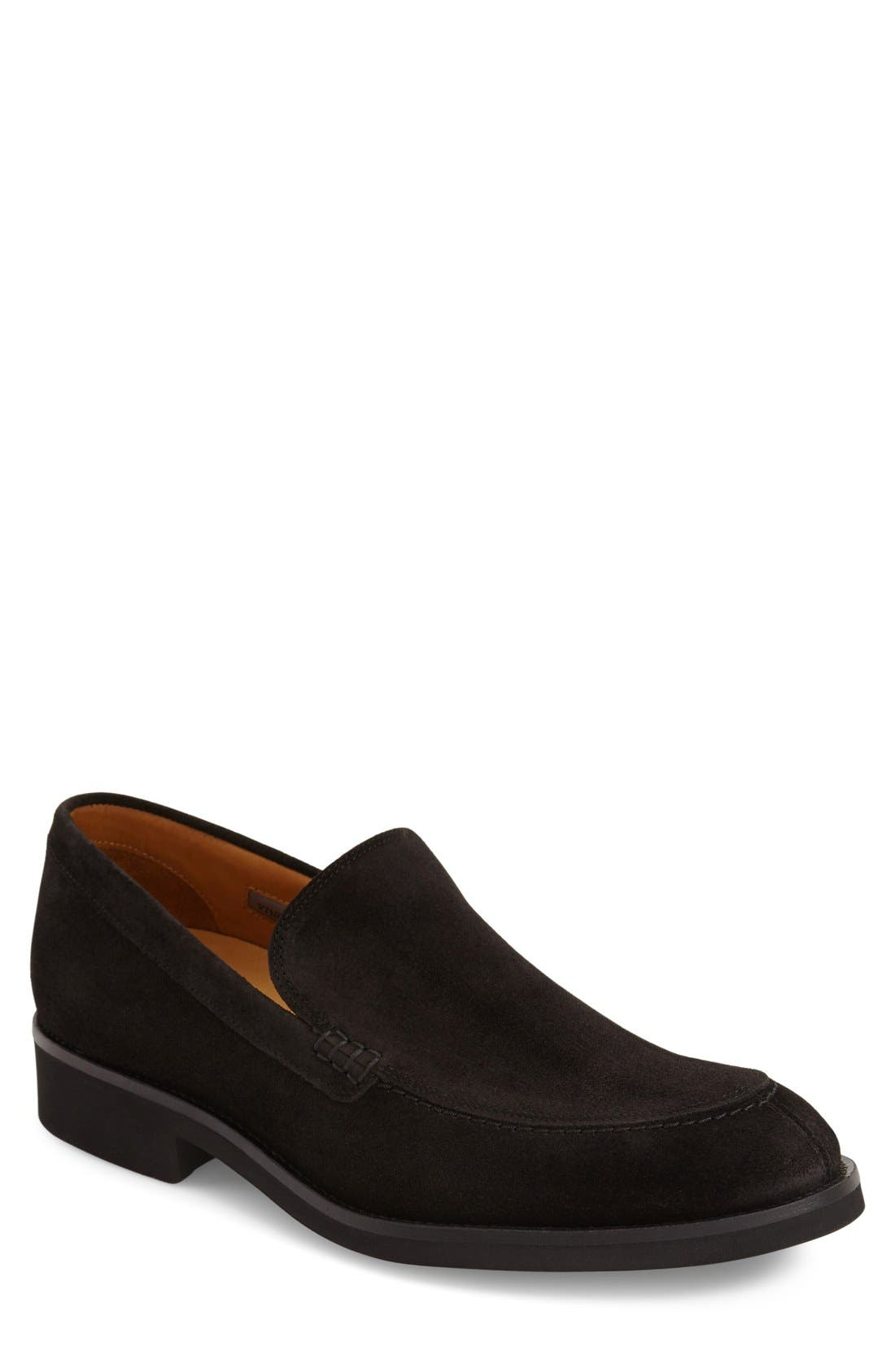 'Arleigh' Loafer,                             Main thumbnail 1, color,                             Black Suede
