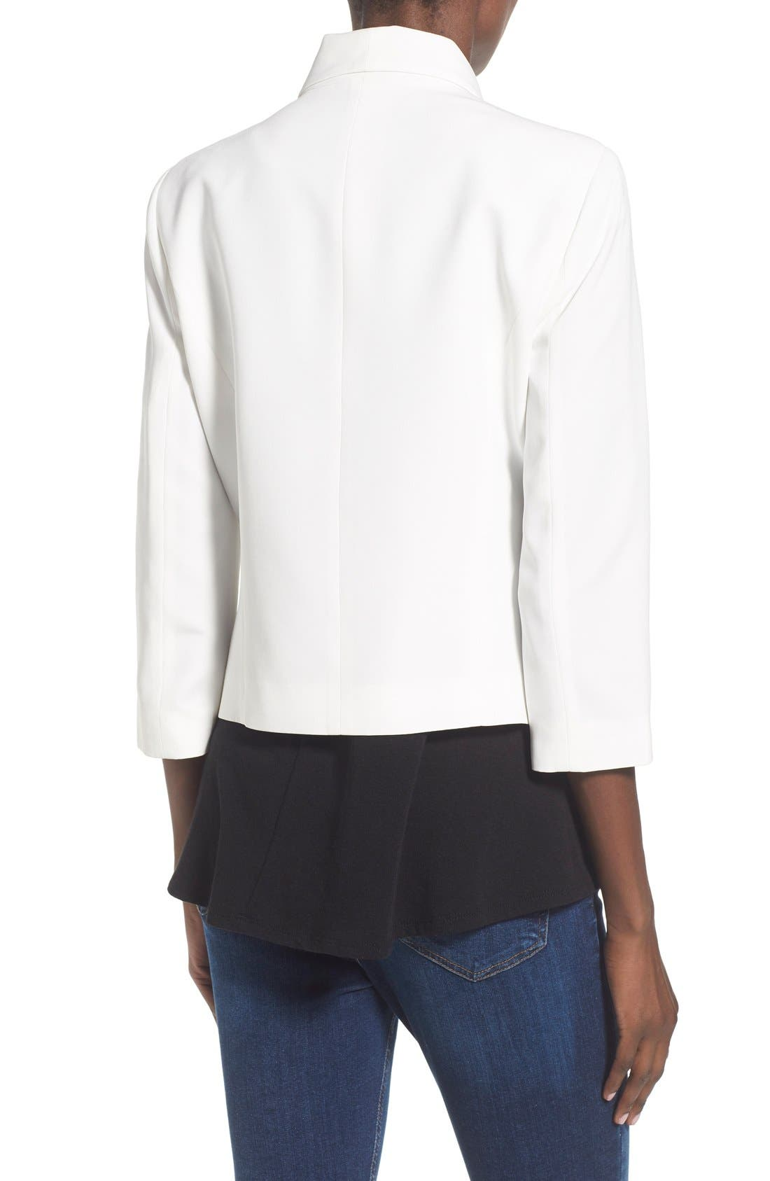 'Curve' Open Front Shawl Collar Blazer,                             Alternate thumbnail 2, color,                             White