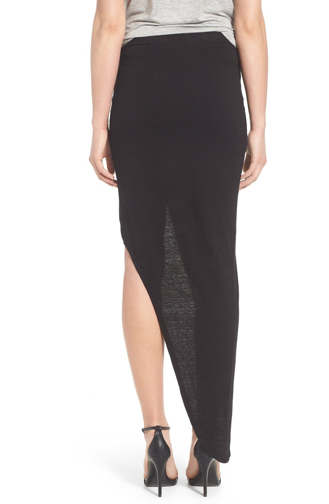 Alternate Image 2  - Pam & Gela Ruched Asymmetrical Maxi Skirt
