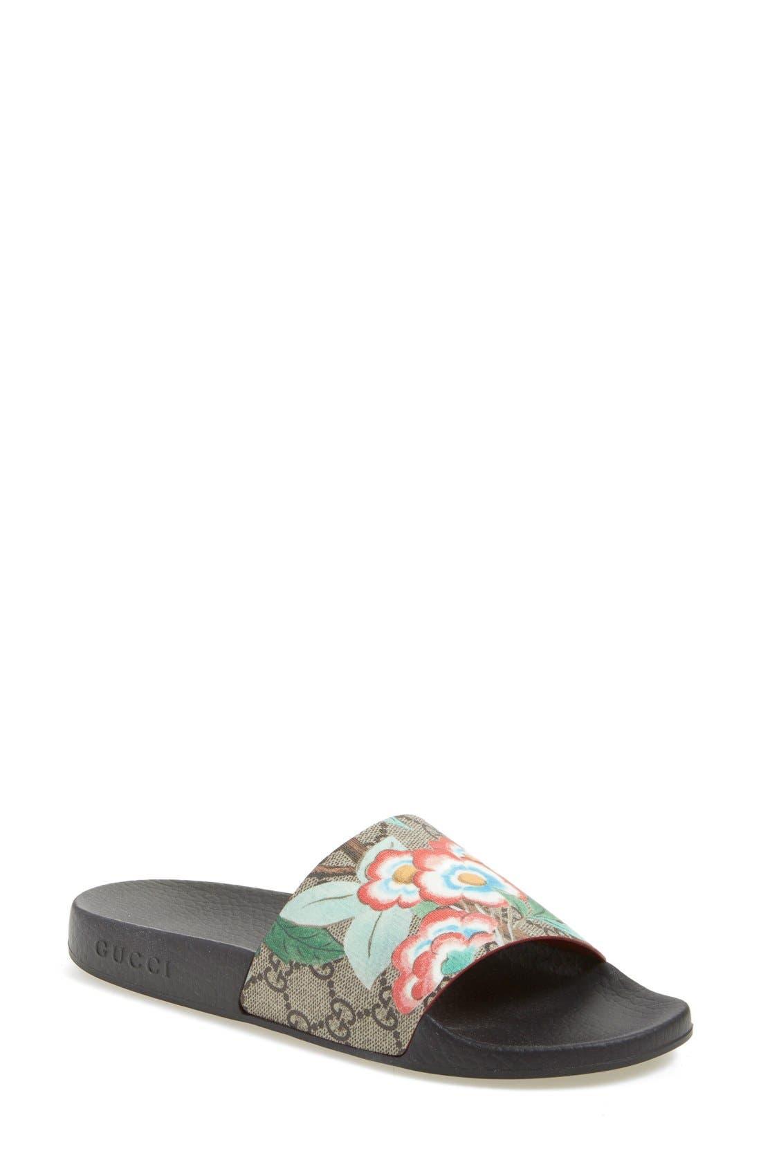 Floral Logo Slide Sandal,                         Main,                         color, Ebony