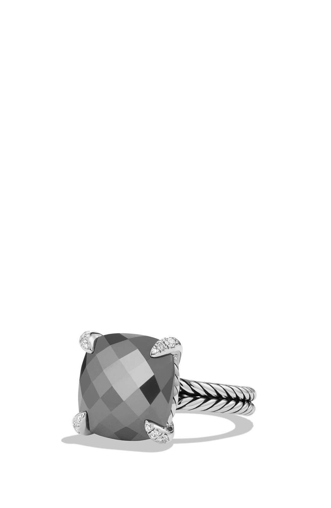 'Châtelaine' Ring with Semiprecious Stone and Diamonds,                         Main,                         color, Silver/ Hematine