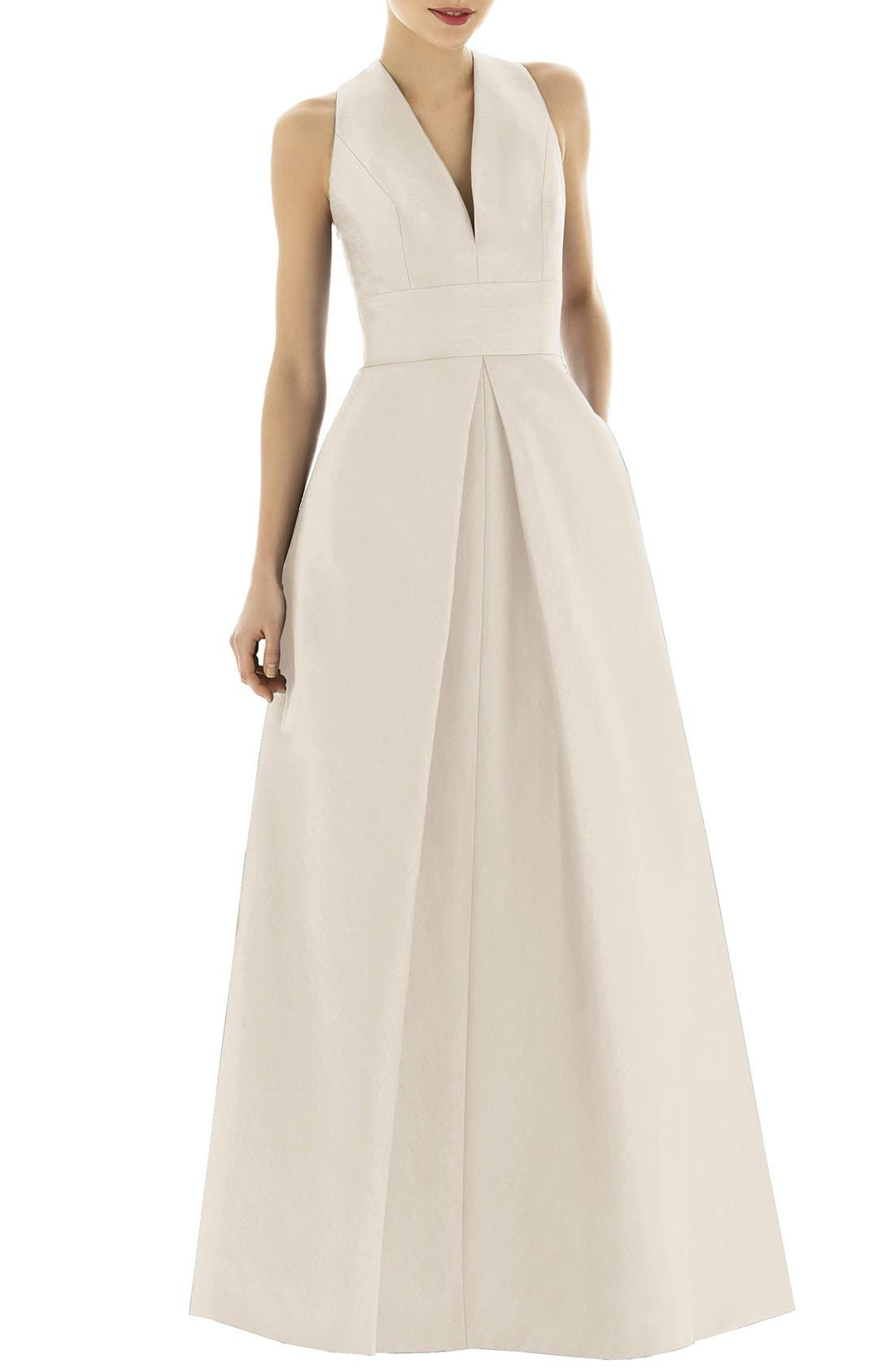 Alternate Image 3  - Alfred Sung Dupioni A-Line Gown