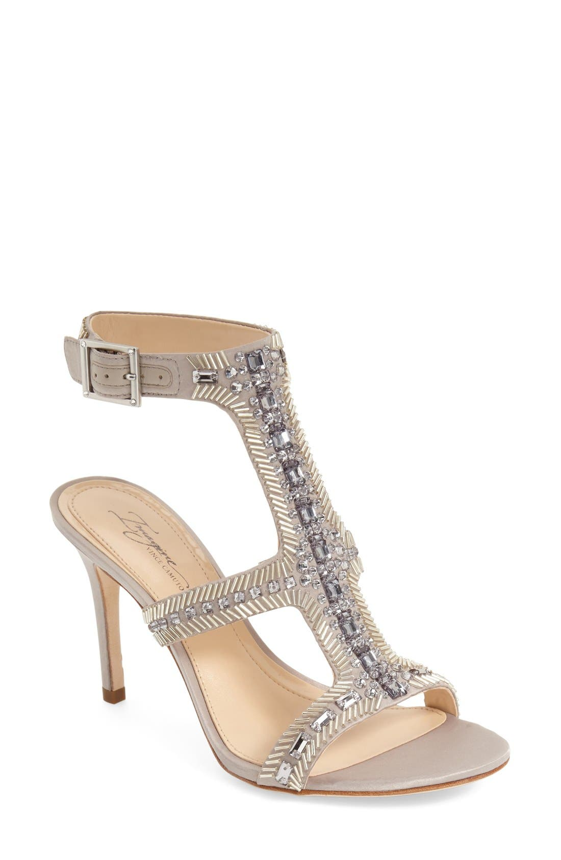 Imagine Vince Camuto 'Price' Beaded T-Strap Sandal,                             Main thumbnail 1, color,                             Stone