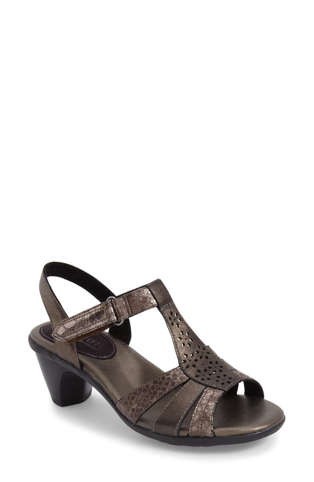 'Mary' T-Strap Sandal,                         Main,                         color, Grey Leather