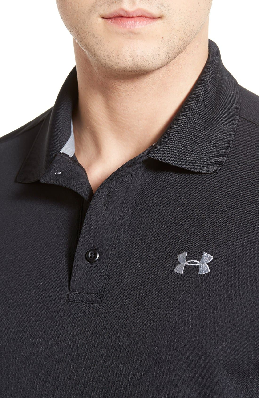 'Performance 2.0' Sweat Wicking Stretch Polo,                             Alternate thumbnail 4, color,                             Black