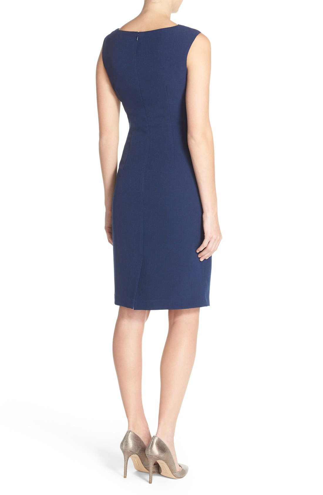 Drape Neck Crepe Sheath Dress,                             Alternate thumbnail 2, color,                             Dusk
