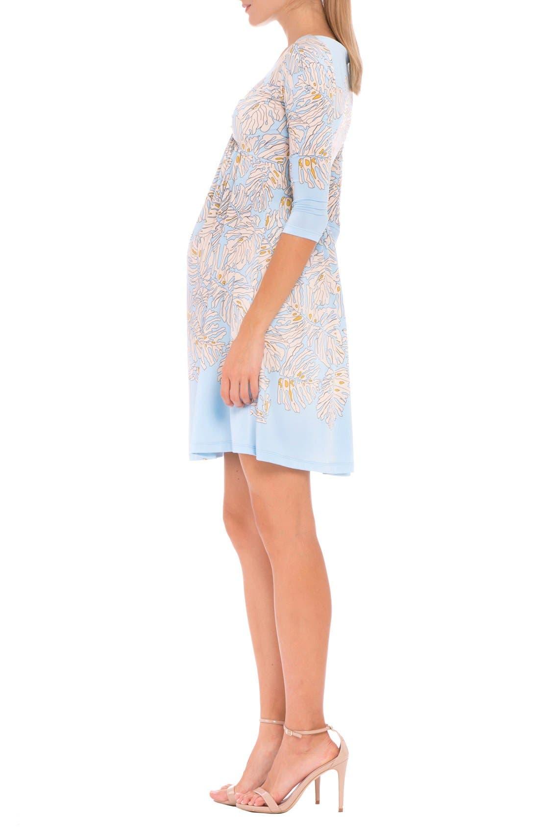 'Scarlet' Print Maternity Dress,                             Alternate thumbnail 4, color,                             Blue