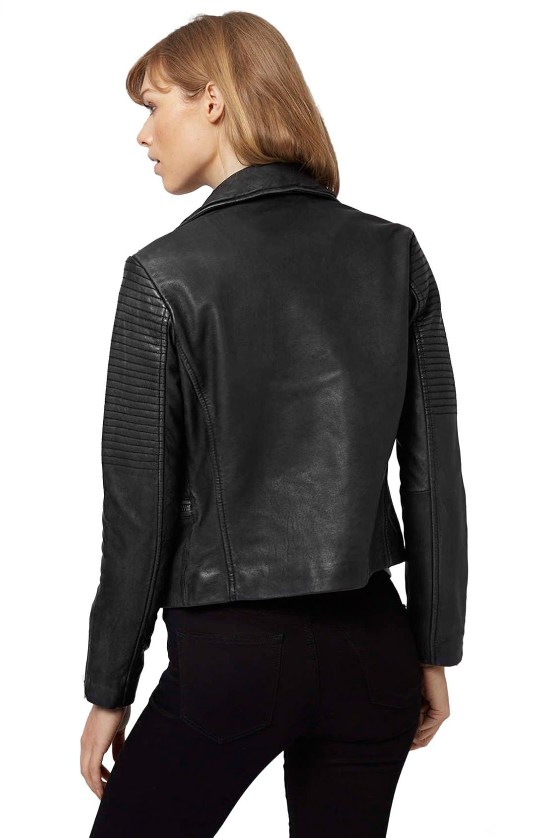 Alternate Image 3  - Topshop 'Orbit' Leather Moto Jacket