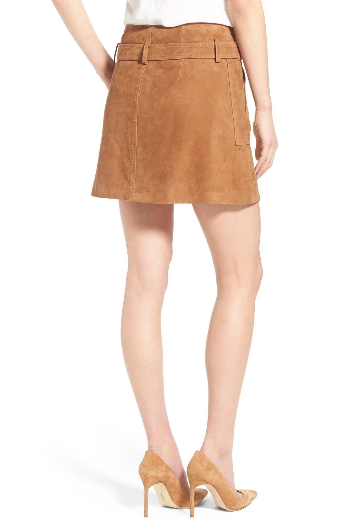 Suede Wrap Miniskirt,                             Alternate thumbnail 3, color,                             Tan Cognac