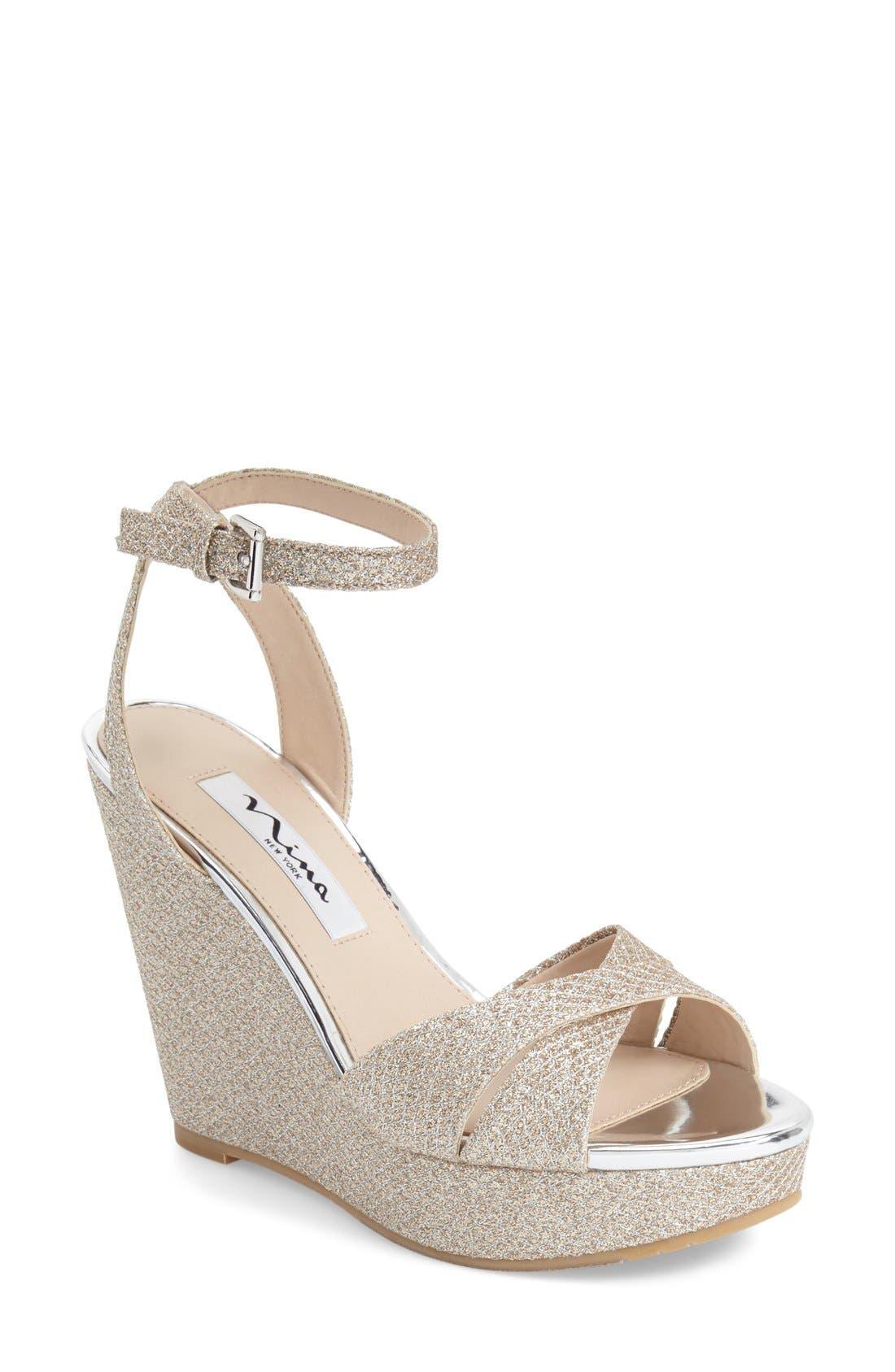Alternate Image 1 Selected - Nina 'Gianina' Glitter Mesh Wedge Sandal (Women)