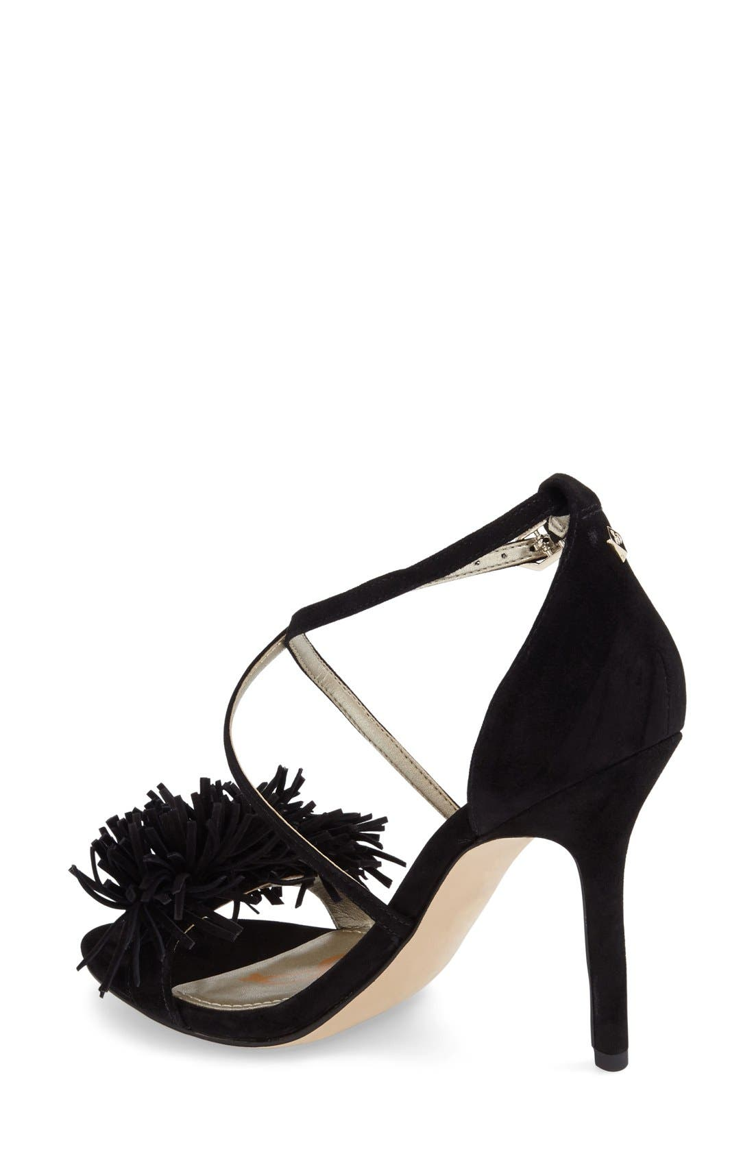 'Aisha' Fringe Sandal,                             Alternate thumbnail 2, color,                             Black Leather