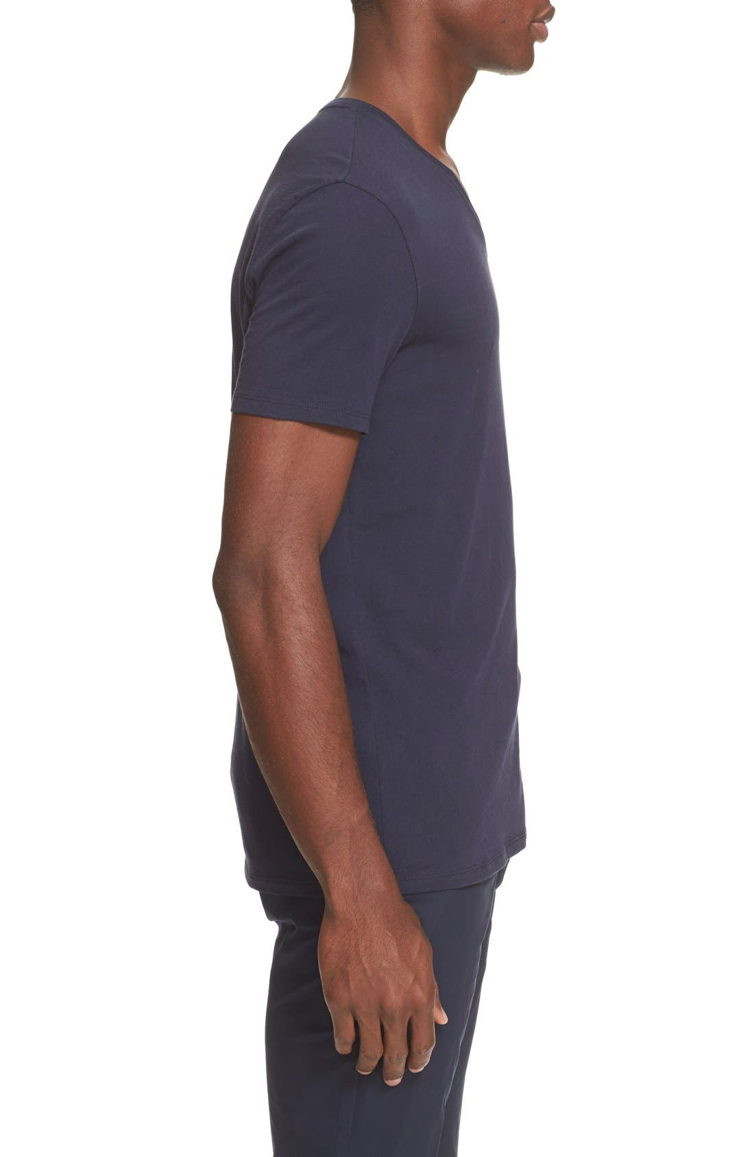 Cotton Jersey V-Neck T-Shirt,                             Alternate thumbnail 3, color,                             Navy