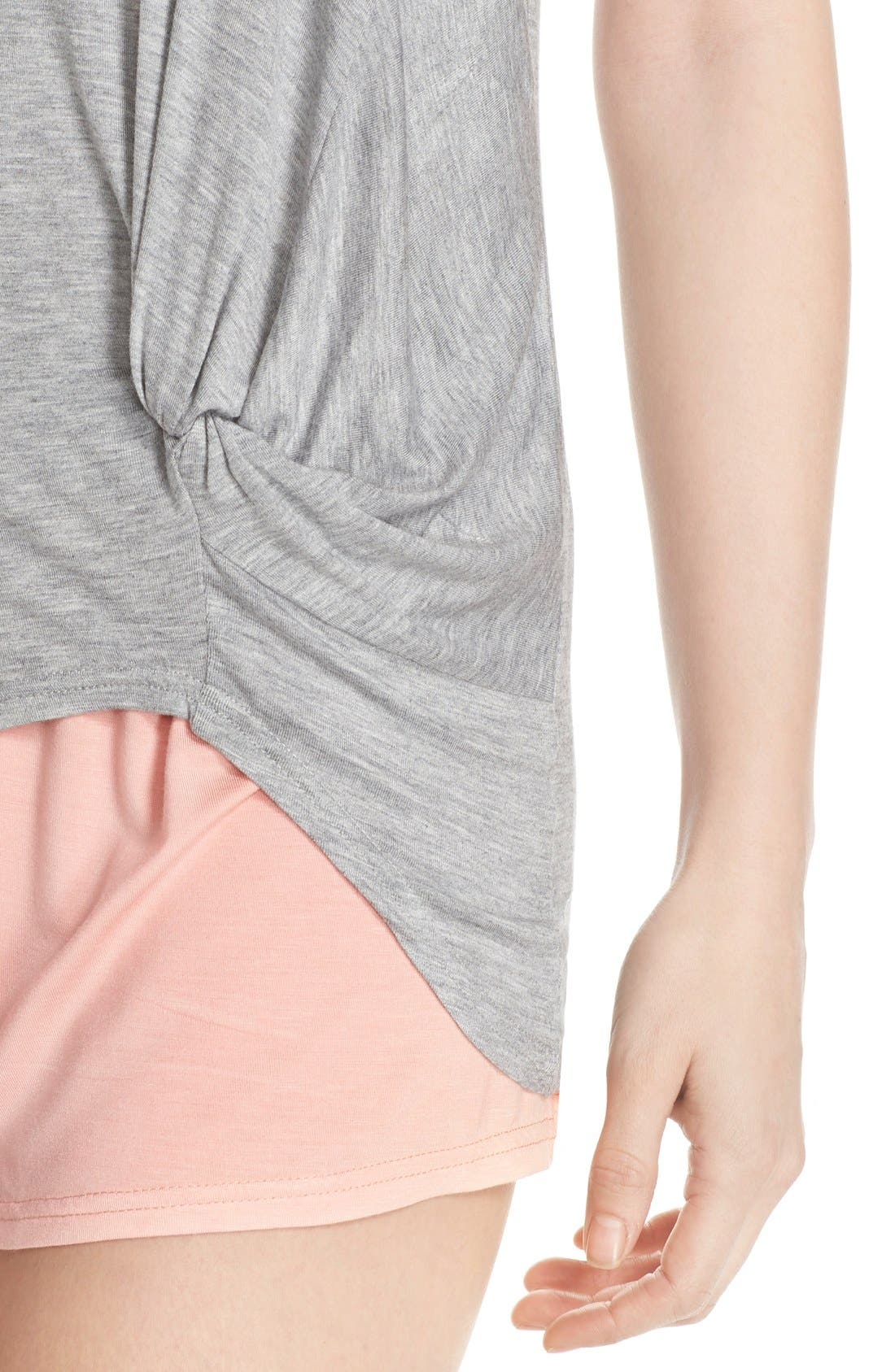 Knotted Tank & Pajama Shorts,                             Alternate thumbnail 4, color,                             Light Grey/ Peach
