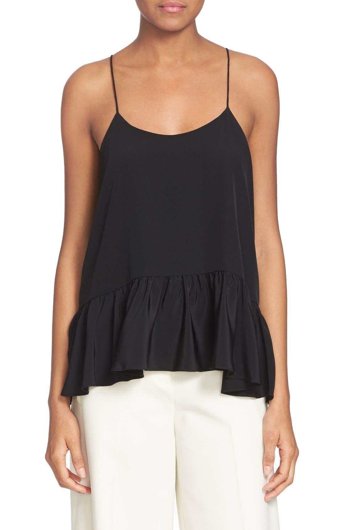 Peplum Hem Silk Camisole,                         Main,                         color, Black