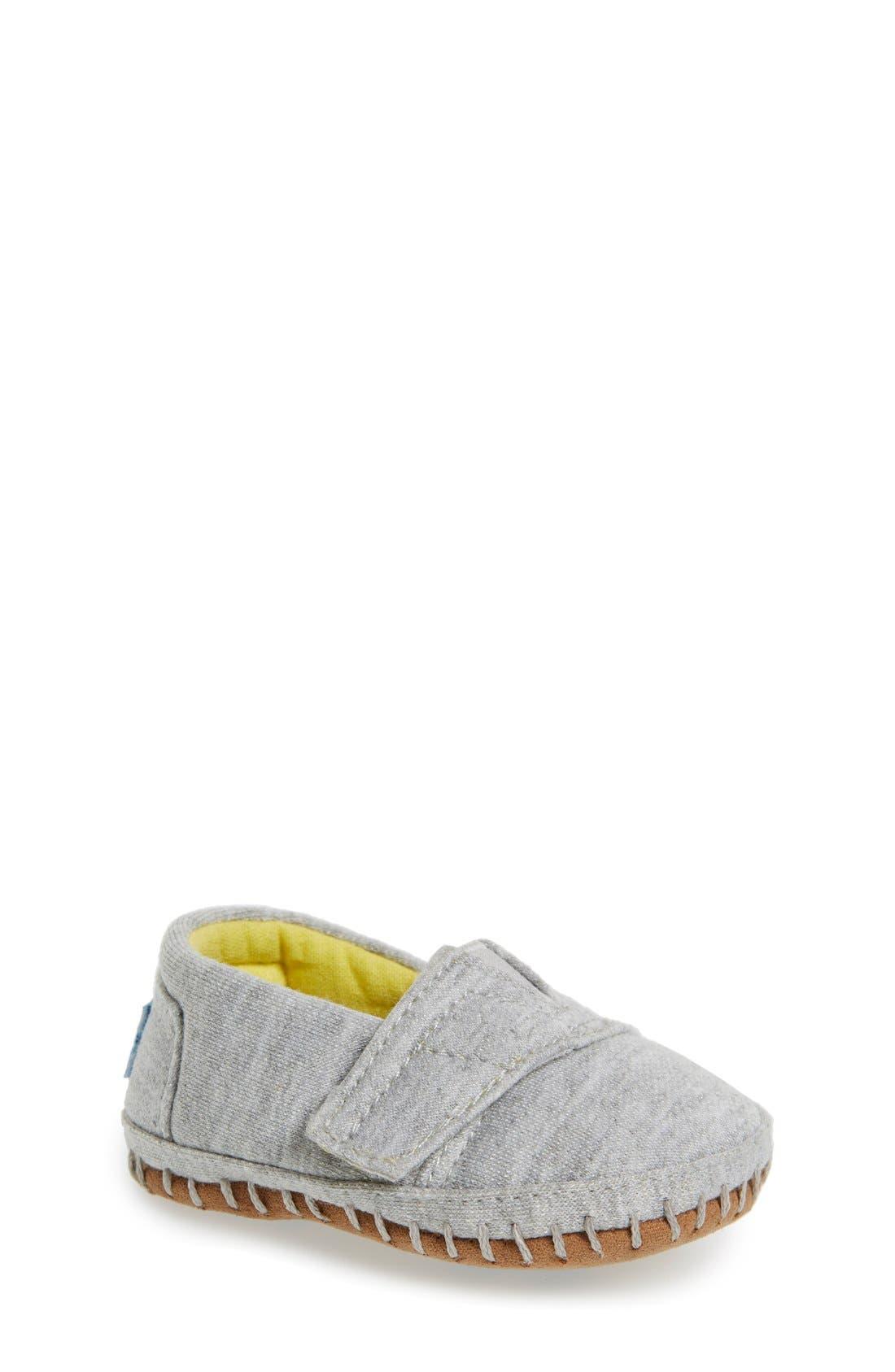 Alpargata Chambray Crib Shoe,                             Main thumbnail 1, color,                             Grey