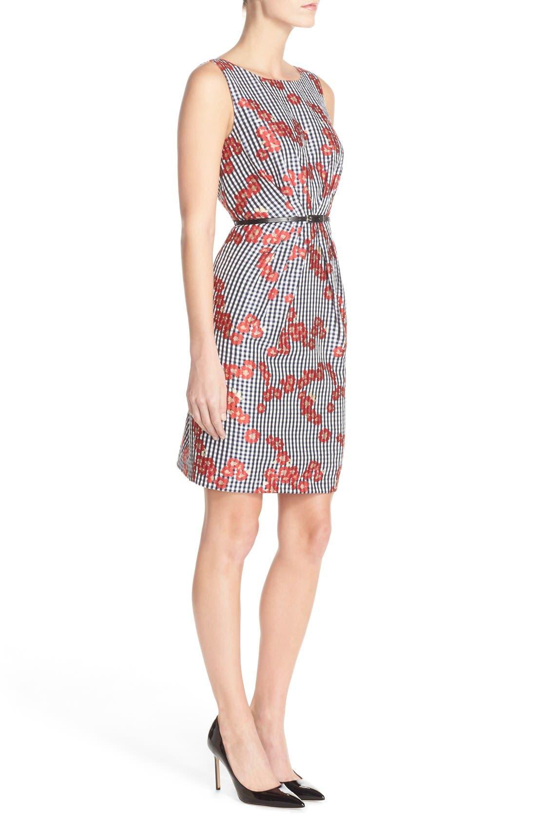 Alternate Image 3  - Adrianna Papell Floral & Gingham Jacquard Sheath Dress (Regular & Petite)