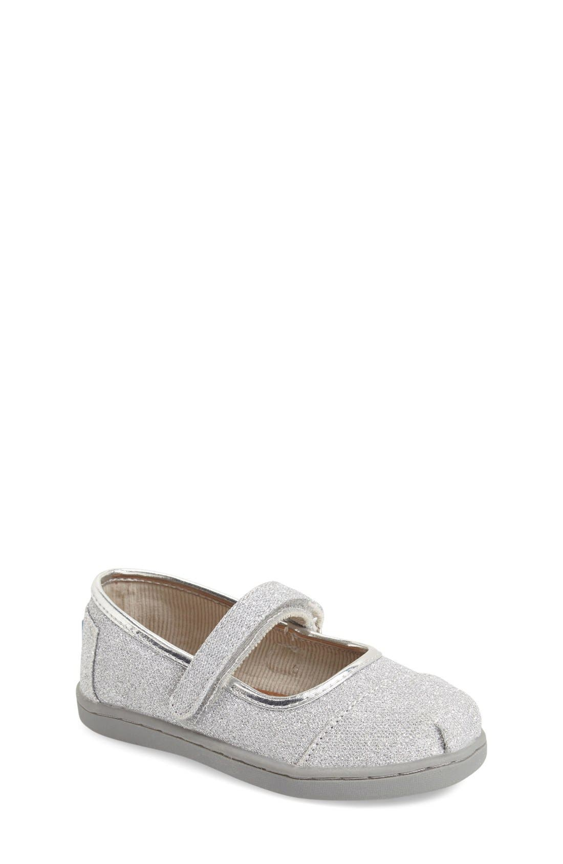 Main Image - TOMS 'Tiny Glimmer' Mary Jane Flat (Baby, Walker & Toddler)