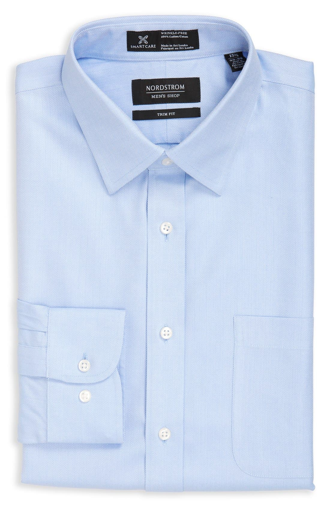 Smartcare<sup>™</sup> Trim Fit Herringbone Dress Shirt,                             Alternate thumbnail 4, color,                             Blue