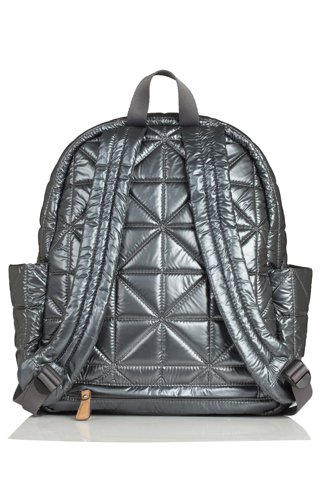 Quilted Water Resistant Nylon Diaper Backpack,                             Alternate thumbnail 2, color,                             Pewter